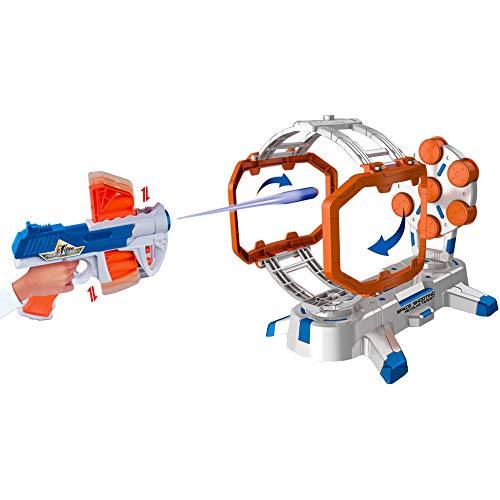 deAO Schiet Oefeningen Doelwit Spel voor kinderen met Blaster, Schuimstof Dart Kogels en Draaiende Tafelblad Obstakel Doelwit met licht- en geluidsfuncties inbegrepen
