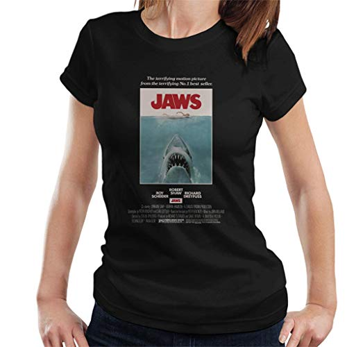 Ladies Black Jaws Poster T-shirt, S to XXL