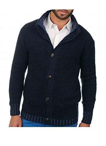Balldiri premium kasjmier heren gebreide jas 8-dradig nachtblauw-kobaltblauw XXXL