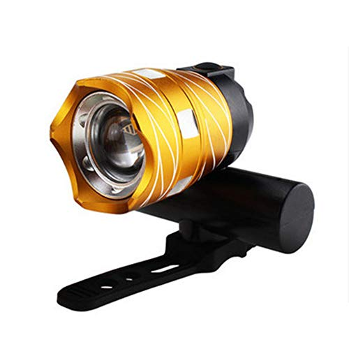 Luz Bicicleta Recargable USB Recargable Linterna de la Bici a Prueba de Agua de luz LED de Advertencia Seguridad Flash 3 Modo Luz Se Adapta a Todas Las Bicicletas, montaña, Carretera,Oro