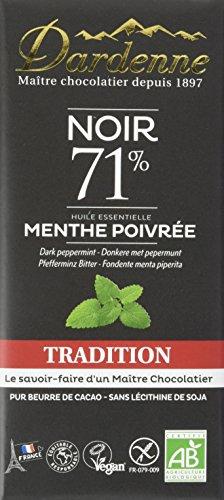 Dardenne Tablette Tradition Chocolat Noir aux Huiles Essentielles de Menthe Poivrée 70 g - Lot de 6
