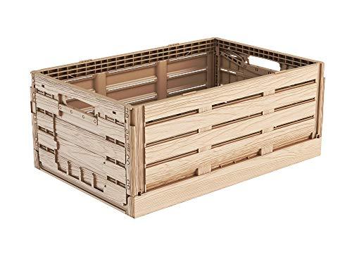 Faltbox im Holzdesign 60x40x22 * Klappbox für Obst, Gemüse * Obstkiste Gemüsekiste Holz Optik