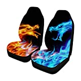 INTERESTPRINT Soft Car Seat Covers Each Piece with Different Printing, 2 Pcs Blue and Red Fiery Dragons