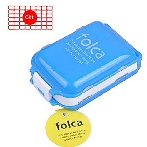 HEACI Multifunction Weekly Pill Cases 8 Compartments Portable Travel Tablet Medicine Vitamin Pill Organizer, Blue