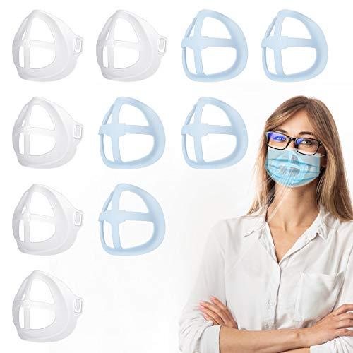 Soporte de máscara tridimensional 3D marco de soporte interno de superficie marco de soporte interno de máscara previene el maquillaje mejora el espacio para respirar reutilizable( 10 piezas)