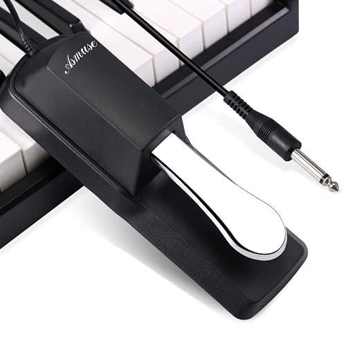 Asmuse Universal Sustain Pedal Dämpferpedal Polaritätsschalter Haltepedal Fußschalter 6,3 mm Stecker für Midi Dgitale Klaviere Elektronische Keyboards Klavier und E Piano Yamaha Casio