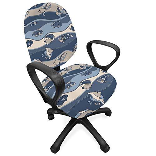 ABAKUHAUS Vis Hoes voor Bureaustoel, cartoon Aquarium, Decoratieve en Beschermende Hoes van Stretchstof, Slate en Cadet Blue Tan