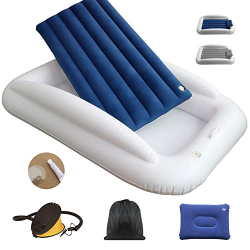 USHMA Travel Toddler Bed with Grey-Navy Fabric Air Mattress, Inflatable Toddler Bed with Safety Bumper, Portable Blow Up Toddler Bed with Sides for School, Camping, Home, Foot Pump Included