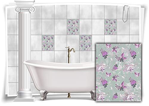 Medianlux Pegatinas para azulejos con diseño de flores, hojas de nostalgia, color morado