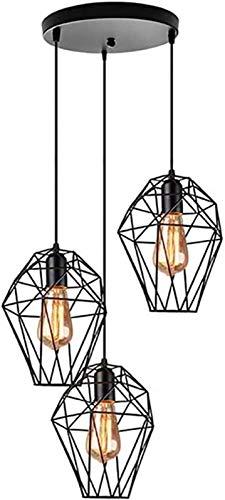 GYC Mesa de Comedor rústica Lámpara Colgante Lámpara Colgante Luz de Mesa Negro E27 Jaula de Metal Ferroso Lámpara Colgante de Vida Lámpara Colgante Ajustable en Altura para