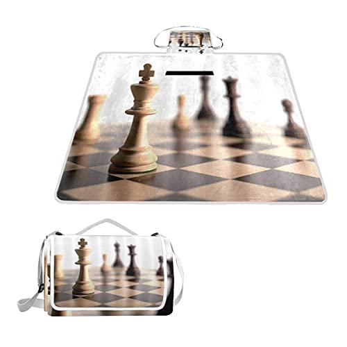 VAMIX Manta de Picnic Impermeable y Plegable,Tablero de ajedrez a Cuadros de Cuadros Negros y Marrones con Cabeza de Caballo PORTÁTIL Estera de Playa Alfombras Anti-Arena,145*150cm