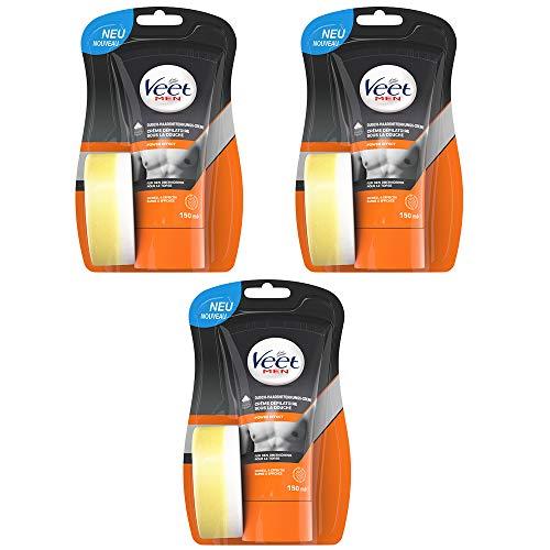 Veet Dusch Enthaarungscreme 3er Pack für Männer für schnelle und effektive Haarentfernung unter der Dusche Veet Men Haarentfernungscreme 3x150ml
