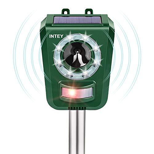 INTEY Repellente per Gatti Ultrasuoni, IP44 Impermeabile e 5 Frequenza Regolabile, Ricarica Batteria e Solare, con Flash, per Gatti, Volpi, Cani, Ratti Adatto agli Giardino, Fattoria, Cortile