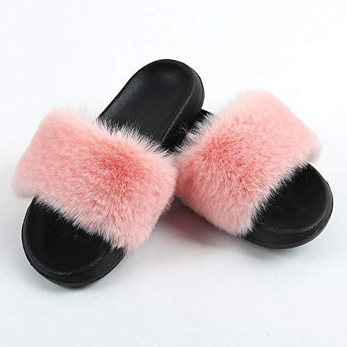 N/W Niñas Sandles, Ropa Exterior para Mujer Zapatos de Felpa para Mujer, Zapatillas Planas Antideslizantes-Pink_ (270) 40-41