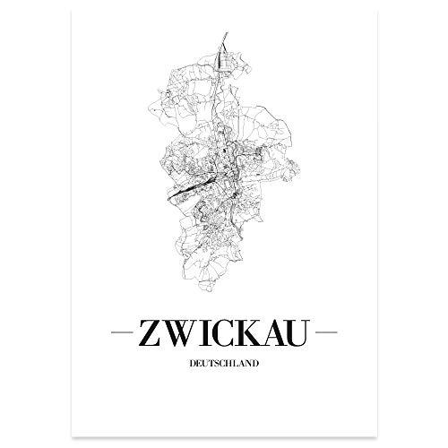 JUNIWORDS Stadtposter, Zwickau, Wähle eine Größe, 21 x 30 cm, Poster, Schrift A, Weiß