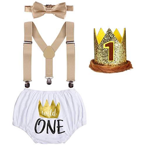 Wild One Baby Jungen 1. Geburtstag Party Outfit Baumwolle Shorts Kurzes Hose + Y-Form Hosenträger + Fliege + König Krone Stirnband 4tlg Bekleidungsset Fotoshooting Kostüme Fotografie Set 12-18 Monate