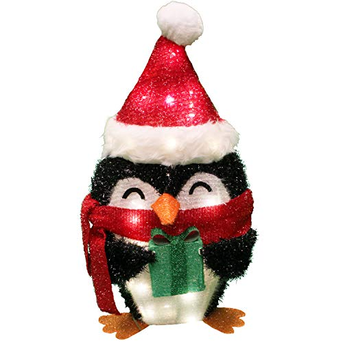 Joiedomi 21in Tinsel Penguin 80 LED Warm White Yard Lights for Christmas Outdoor Yard Garden Decorations, Christmas Event Decoration, Christmas Eve Night Decor