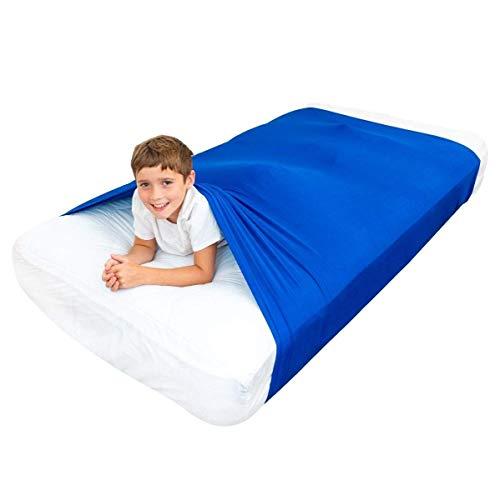 Sensory Bed Sheet für Kids Compression Alternative zu gewichteten Decken - Helfen Sie Kids ab 5 Jahren, sich nachts auszuruhen - Bequeme Schlafbetten (Einzelbett, Blau)