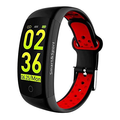 Mygsn Watch Fitness-Tracker, Smart-Armband, IP68 im Freien wasserdichte Multifunktionssport Schwimmen Laufen Bluetooth Schlaf Überwachung Tracker Watch (Farbe : Rot)