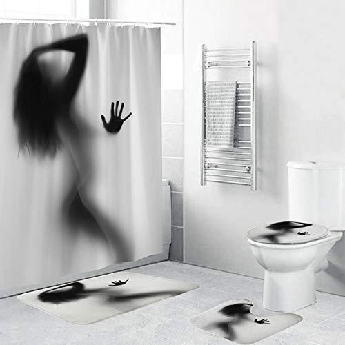 QINGMM Duschvorhang-Sets mit rutschfesten Teppichen, Toilettendeckel und Badematte, Shadow of Sexy Woman Nude Naked Silhouette Kreative Duschvorhänge mit 12 Haken,120 x 180cm