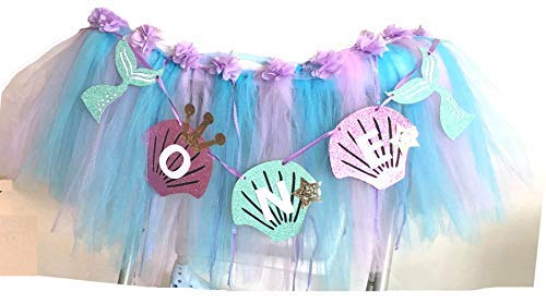 Mermaid 1st Birthday Party Supplies High Chair Tutu Tulle Decoration for Baby Purple Blue Shell'ONE' Pennant Under The Sea Mermaid Happy Birthday Favors for Highchair,3 Pack