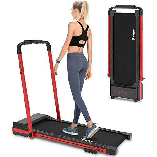 REDLIRO Under Desk Treadmill 2 in 1 Walking Machine Portable Space Saving Fitness Motorized Folding Treadmill Electric for Home Office Workout Indoor Exercise Machine Physical Training (Red)