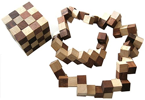 Logoplay Holzspiele Schlangenwürfel 4x4 Gr. L - 8x8x8 cm - Snake Cube - Würfel Schlange - 3D Puzzle - Denkspiel - Knobelspiel - Geduldspiel - Logikspiel aus edlem Holz