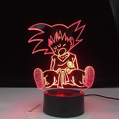 Lámpara De Ilusión 3D Luz De Noche Baby Goku Figura De Sueño Dragon Ball Led Para La...