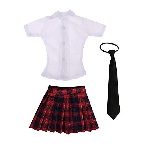 Harilla 1/6 Conjunto de Uniforme de Colegiala Falda a Cuadros con Lazo de Camisa Blanca para de Accin de 12 Pulgadas