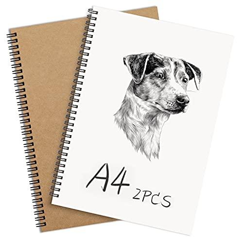 2 STK Notizbuch A4 Spirale Notizblock, Kraft Cover Leerseite (80 Blatt) Notizheft Skizzenblock, Classic Tagebuch Schreibblock Zeichenpapier, Gut für Memos, Malen und Graffiti