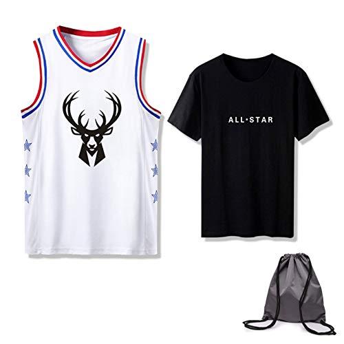 Milwaukee Bucks All-Star - Juego de camiseta de baloncesto con bolsa, entrenamiento de competencia, ropa transpirable, suelta, de secado rápido, cómodo, unisex, juego de camisetas y chaleco