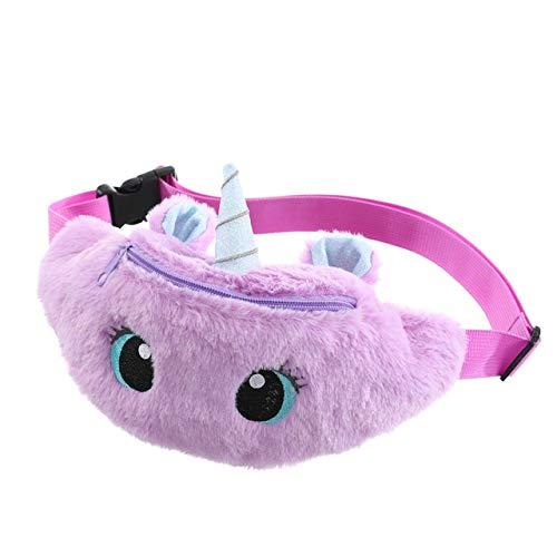 Cute Female Waist Bag Kids Fanny Pack Cartoon Plush Women Belt Bag Fashion Travel Phone Pouch Chest Bag - Pure Purple