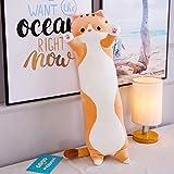 Géant Animal Chat en Peluche PP Coton Coussin Oreiller Farcies Peluche Soft Toy Cozy Animal Plush Jouets Oreillers pour Bébé Adultes Cadeaux de Noël 90cm (Brown)