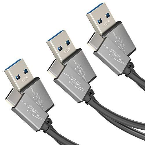 KabelDirekt Cable USB A 3.0 a USB C - 0,5m + 1m + 2m - (cable de datos SuperSpeed y cable de carga, adecuado para smartphones y tabletas con conexión USB C, en negro / space grey) - PRO Series