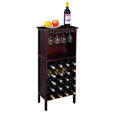 Wood Wine Holder - Wood Wine Cabinet Bottle Holder Storage Kitchen Home Bar w/ Glass Rack Wine Bottle Holder