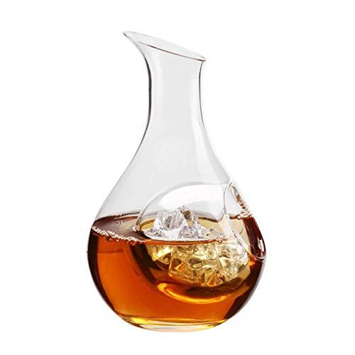 Frasco de Hielo Botella de Vino de Vidrio Nido de hámster Agujero de la Sala de enfriamiento Vidrio de Sake Enfriador de Cerveza Dispensador de Vino Jarra Decantador (Color: 385ML)