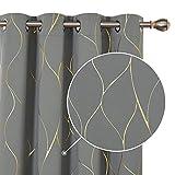 Deconovo Cortinas Opacas Diseño de Rayas Bronceadas para habitación con Ojales 2 Piezas 140 x 240 cm Gris Claro