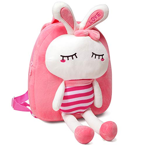 Toddler Backpack, VASCHY Girls 3D Cute Plush Small Daycare Backpack for Little Girls Pink Rabbit
