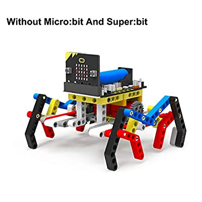 Yahboom Micro:bit Robot Building Set, Spider Building Blocks 142 Pieces Set with 2 Motor Based on Microbit BBC, STEM Educational Coding Learning Toy Kit for Kids (Without Micro:bit and Super:bit)