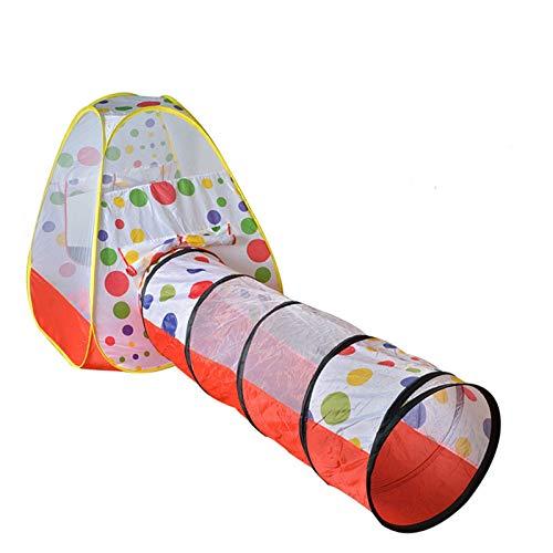 KJZhu Tiendas de campaña 2 en 1 Tiendas de campaña con puntos de color, emergente bolas Casa de túnel, juega túneles for niños - Tiendas de campaña for niños - el túnel del juego 180 Cm Plegable