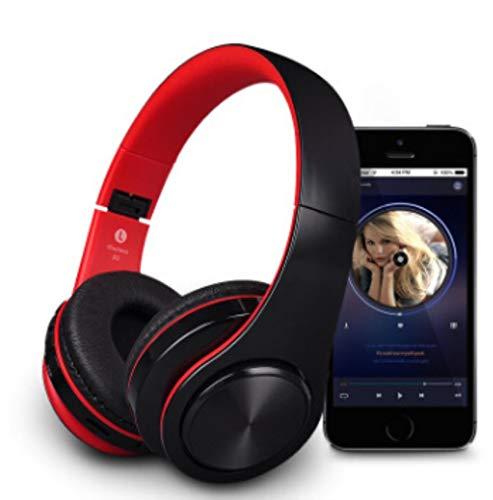 FXMINLHY Bluetooth koptelefoon met microfoon, draadloos, voor racen, opvouwbaar, sporthoofdtelefoon, voor mobiele telefoons, computers, kinderen, cadeau van het nieuwe jaar red and black