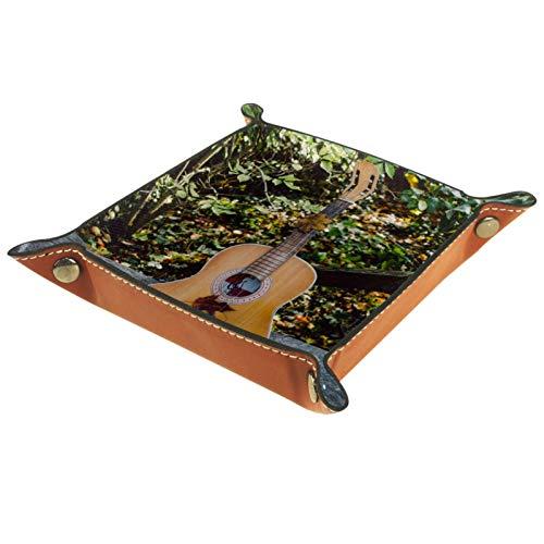 YATELI Caja de Almacenamiento pequeña, Bandeja de Valet para Hombre,Instrumento de música de Guitarra acústica,Organizador de Cuero para Llaves de Caja de Monedas