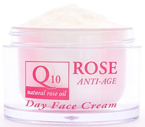 Crema facial de día antiarrugas con aceite de rosa, Q10 y vitamina E, Crema facial antiedad y nutritiva, Sin parabenos ni conservantes 50 ml