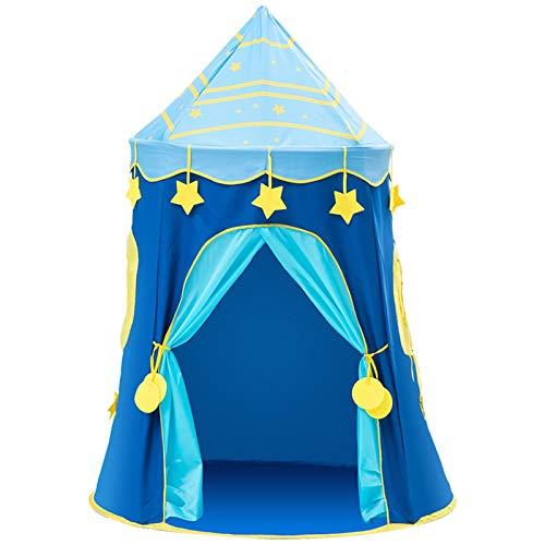 Tiendas de campaña Yurt, juego al aire libre seguro para jugar en interiores y plegables (color: azul, tamaño: 110 x 110 x 150 cm)