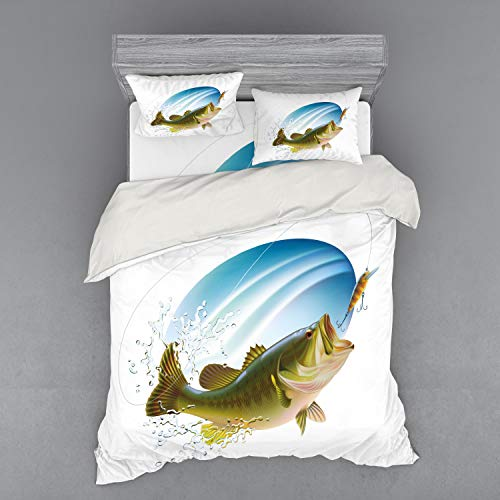 Ambesonne Fishing Bedding Set, Largemouth Sea Bass Catching a Bite in Water Spray Motion Splashing Wild Image, 4 Piece Duvet Cover Set with Shams and Fitted Sheet, California King, Green Blue