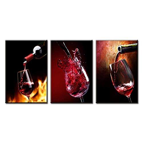 HD Leinwandmalerei 3 Stück Modern Spray Canvas Painting Gießen Sie Rotweingruppe Ölgemälde für Esszimmer Weinbild an die Wand -40CM*60cm*3