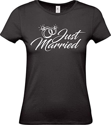 Shirtstown Lady Maglietta, Just Married Matrimonio Liebe Mr e Mrs - Nero, L