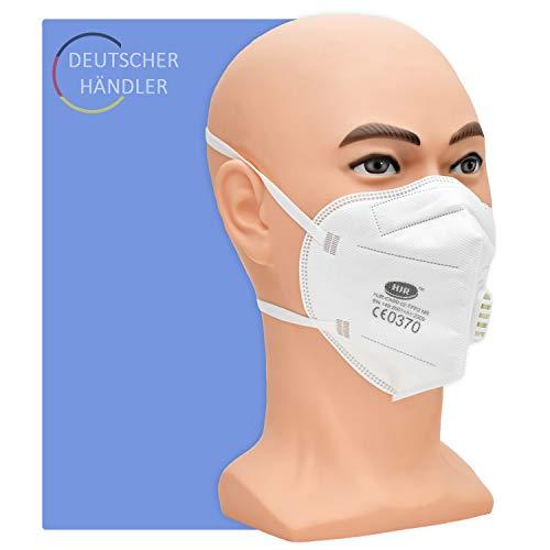 Partikelfiltermaske Typ FFP 2 mit Ventil - 5 Stück pro Packung - 5-lagige Atemschutzmaske gegen Staub und festen und flüssigen Aerosolen