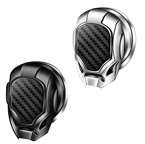 Cubierta del botón de Arranque y Parada del Motor del automóvil, Cubierta del botón de Empuje para iniciar, Cubierta Protectora del botón de Arranque con una Sola tecla antiarañazos (Black + Silver)