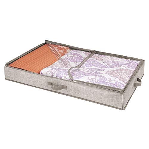 mDesign Organizador de ropa y zapatos para ubicar debajo de la cama – Guarda zapatos de polipropileno – Cajones bajo cama con tapa transparente y cierre con cremallera – beige